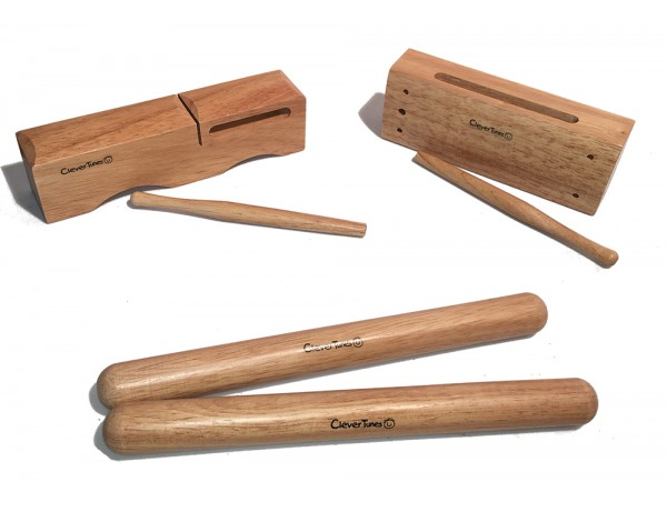Set of Claves and Two Wooden Blocks - CleverTunes