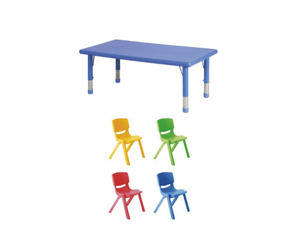 Rainbow Rectangular Table Height Adjustable + 4 Chairs