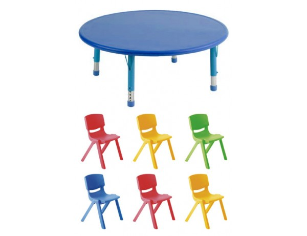 Rainbow Round Table Height Adjustable + 6 Chairs