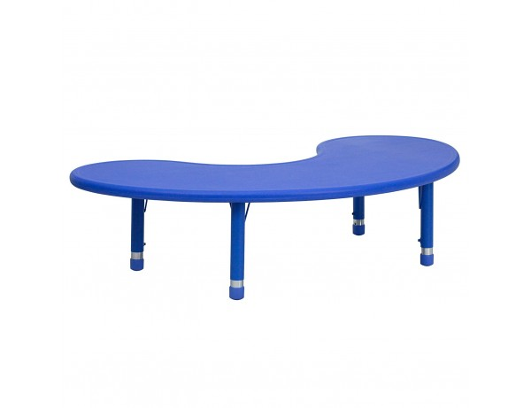 Height Adjustable Half Moon Table Blue